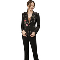 2019 Black Pant Suits Women Business Work Coat Trousers Fashion Casual Pants Blazer Set Office Lady Female Embroidery Clothing