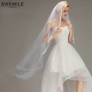 Cheap White Ivory 3M Cathedral Long Wedding Veil with Comb Lace Appliques Bridal Veil Wedding Accessories Veu De Noiva