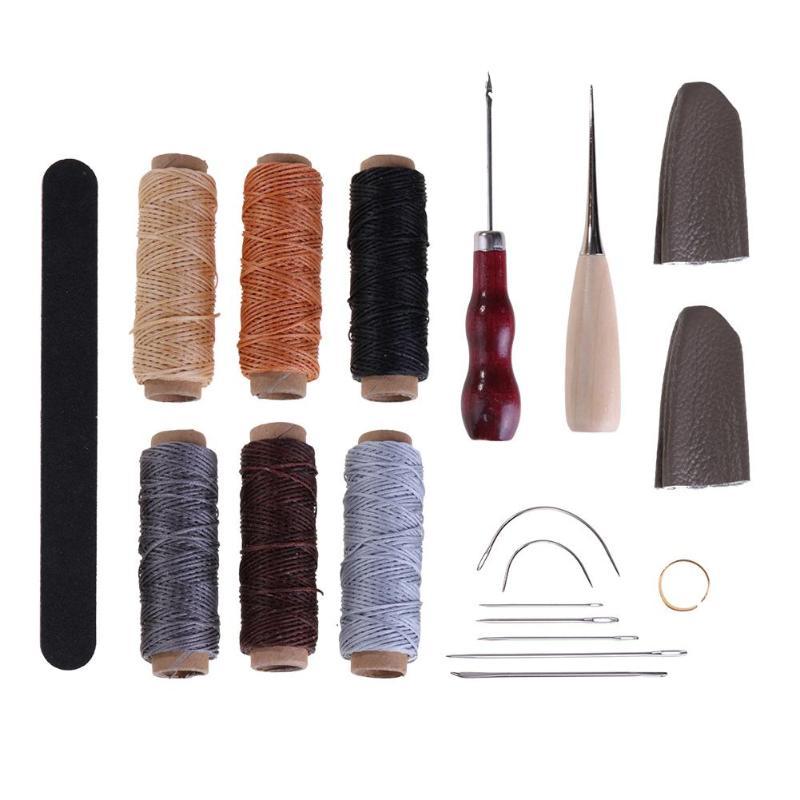 19pcs/set Leather Craft Punch Kit Wood Handle Awl Craft Stitching Hole Waxing Lines Grinding Strip Metal Needles Punching