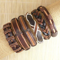 Handmade Weave Wrap Hemp&Genuine Charm 2017 Wholesale 6pcs brown punk bracelet leather for men femme pulseira masculina S160