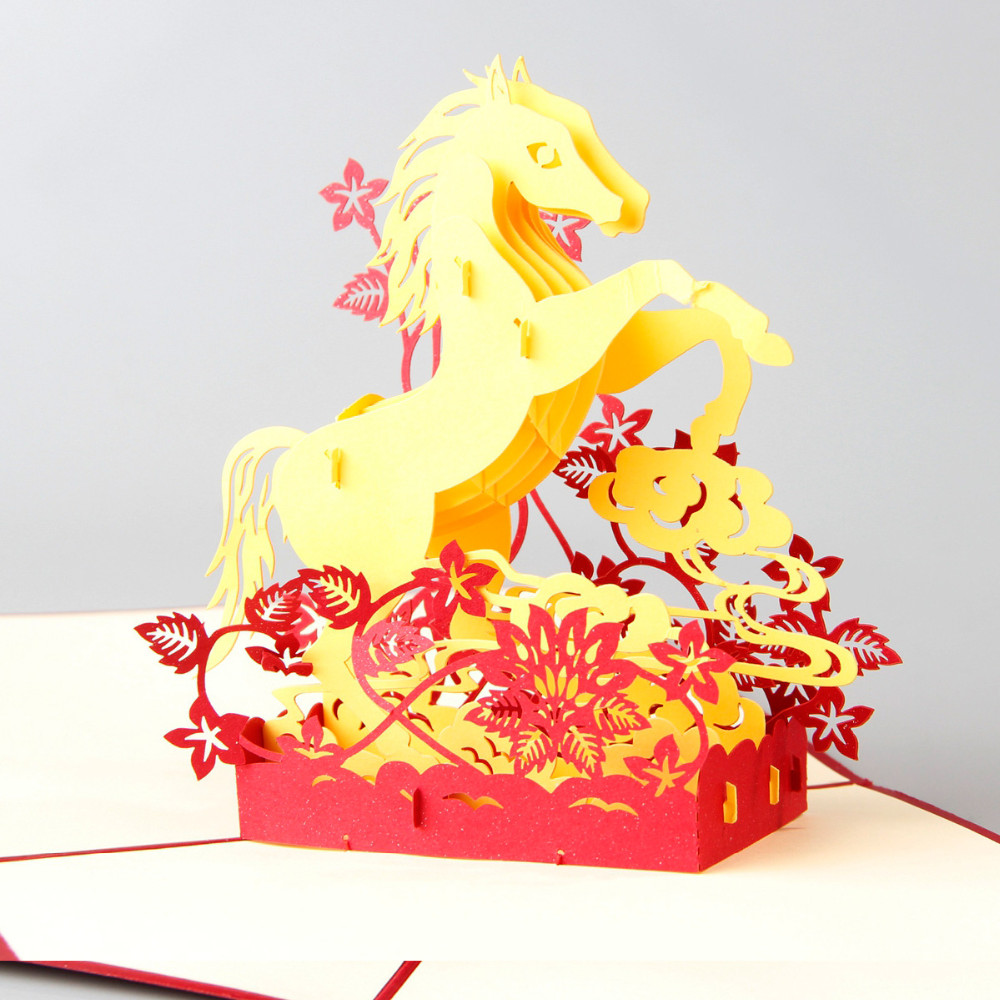 D Successful Horse laser cut pop up paper Holiday handmade Vintage postcards custom Chinese greeting cards Gifts 1 design laser cut white elegant pattern west cowboy style vintage wedding invitations card kit blank paper printing invitation