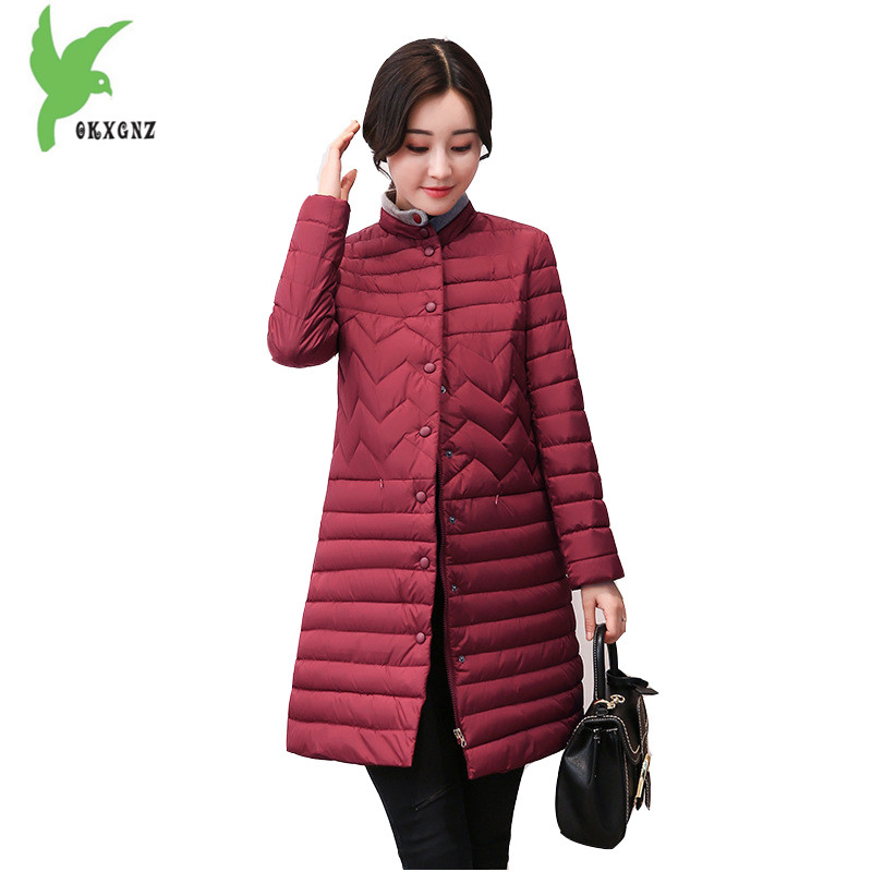 New Women Winter Down Cotton Jackets Korean Fashion Medium Length Light Thin Warm Casual Costume Plus Size Slim Coat OKXGNZ A916 new women s autumn winter down cotton coats fashion solid color casual keep warm jackets thin light slim parkas plus size okxgnz