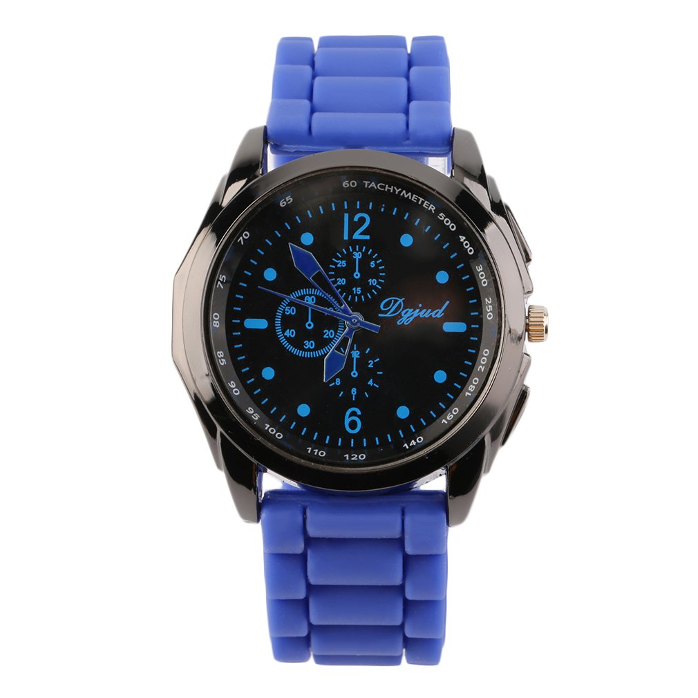 Unisex Blue Red Color Silicone Strap Fashion Watches Quartz Analog Sports Casual Wrist Watch For Sales