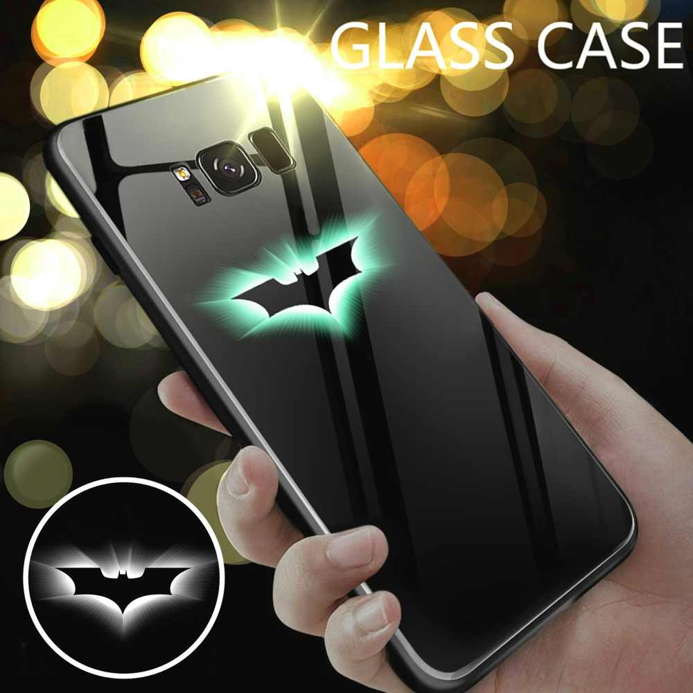 f3bea8845b6 Fundas Avengers Marvel Iron Man Spiderman Captain America Batman Luminous  Glass Case For Samsung Galaxy Note