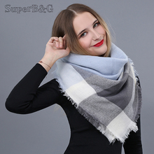 SuperB&G Winte Scarf Women Comfortable Lattice Triangle Wram Plaid Scarves Ladies Shawl Female Winter Thick Clothing Accessories