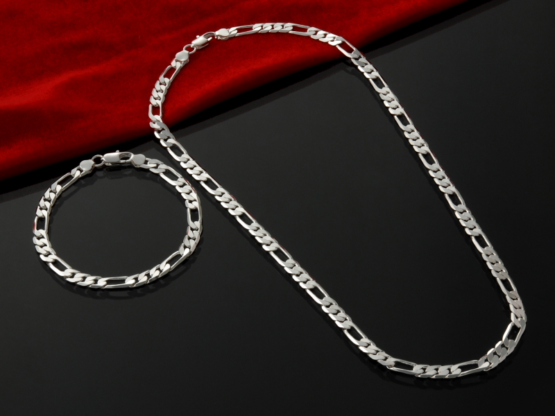 GNIMEGIL Men's Silver Color Jewelry Sets 4mm Figaro Chains Necklace+Bracelet Sets Punk Party Gifts