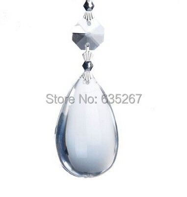 10pcs 2 inch crystal teardrop pendant 14mm octagon beads bow tie connector chandelier prisms parts