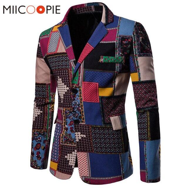 Autumn Men Blazers 2018 Suits Linen Cotton Causal Flower Suit Smart Slim Fit Plaid Dress Mens Blazer Masculino Jacket 4XL