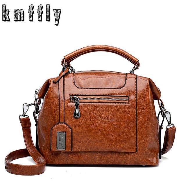 1ae420e08b1 Vintage Oil Skin Leather Big Casual Tote Women Bags High Quality Women s  Handbags Shoulder Crossbody Bag Messenger Bags 2018 Sac
