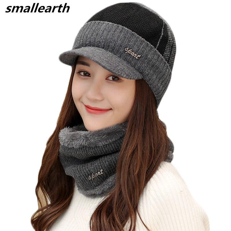 Winter   Beanies   Men Scarf Knitted Hat Caps Set Mask Gorras Bonnet Warm Baggy Winter Thick Hat For Men Women   Skullies     Beanies   Hats