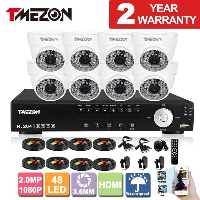 Tmezon ahd dvr 8ch 8 pcs 2.0mp 1080 p câmera de segurança de vigilância cctv sistema de Auto IR-Cut Visão Noturna de até 40 m 1 TB 2 TB HD Kit