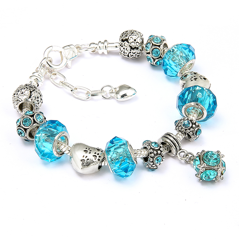 New Fashion Crystal Brand Beads Bracelets Silver Plated Charm Bracelets For Women Friendship Pulseras New Year's Gift Jewelry