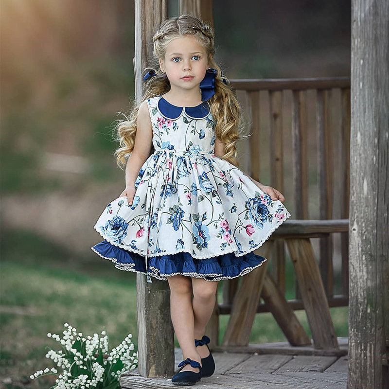 US Toddler Kid Baby Girl Lace Flower Princess Tutu Party Pageant Dress Clothes