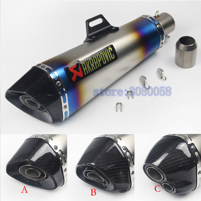 ID:51mm Length 470mm Carbon Fiber Universal Motorcycle Exhaust Pipe Sctoor Muffler Racing Escape Case length 360mm id 51mm carbon fiber motorcycle exhaust muffler pipe with silencer case for cb600 mt07 yzf duke fz6 atv dirt bike