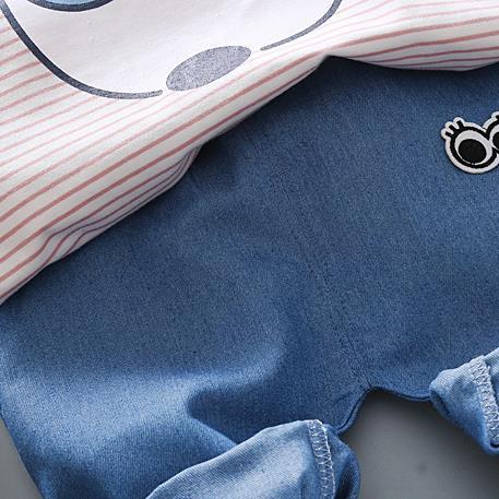 Новинка 2018 г. одежда для мальчиков летний комплект футболка в полоску + брюки 2 шт. Одежда для маленьких мальчиков костюм Платья для маленьки...