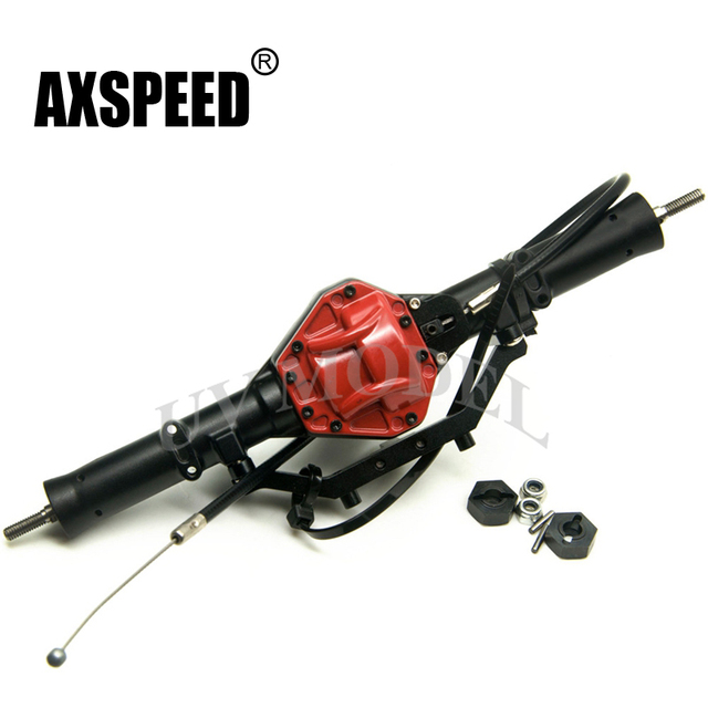 SCX10 Rear Axle With Lock High Quality Alloy Rear Axle Red For 1:10 Scale RC Crawler AXIAL SCX10 CC01 F350