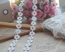 (5 yds / batch) 2cm wide white cotton water soluble lace trim wedding dress clothes curtain accessories home accessories