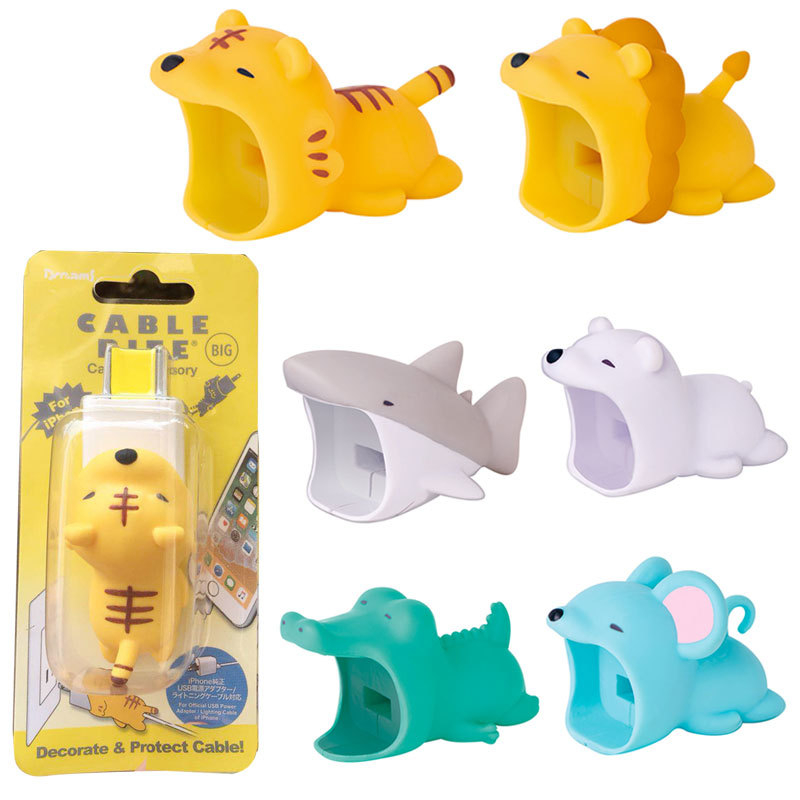 1PCS Cute Animal Bites Cartoon Cable Protector Data Line Cord Protector Protective Cable Winder Organizer For Iphone USB Cable