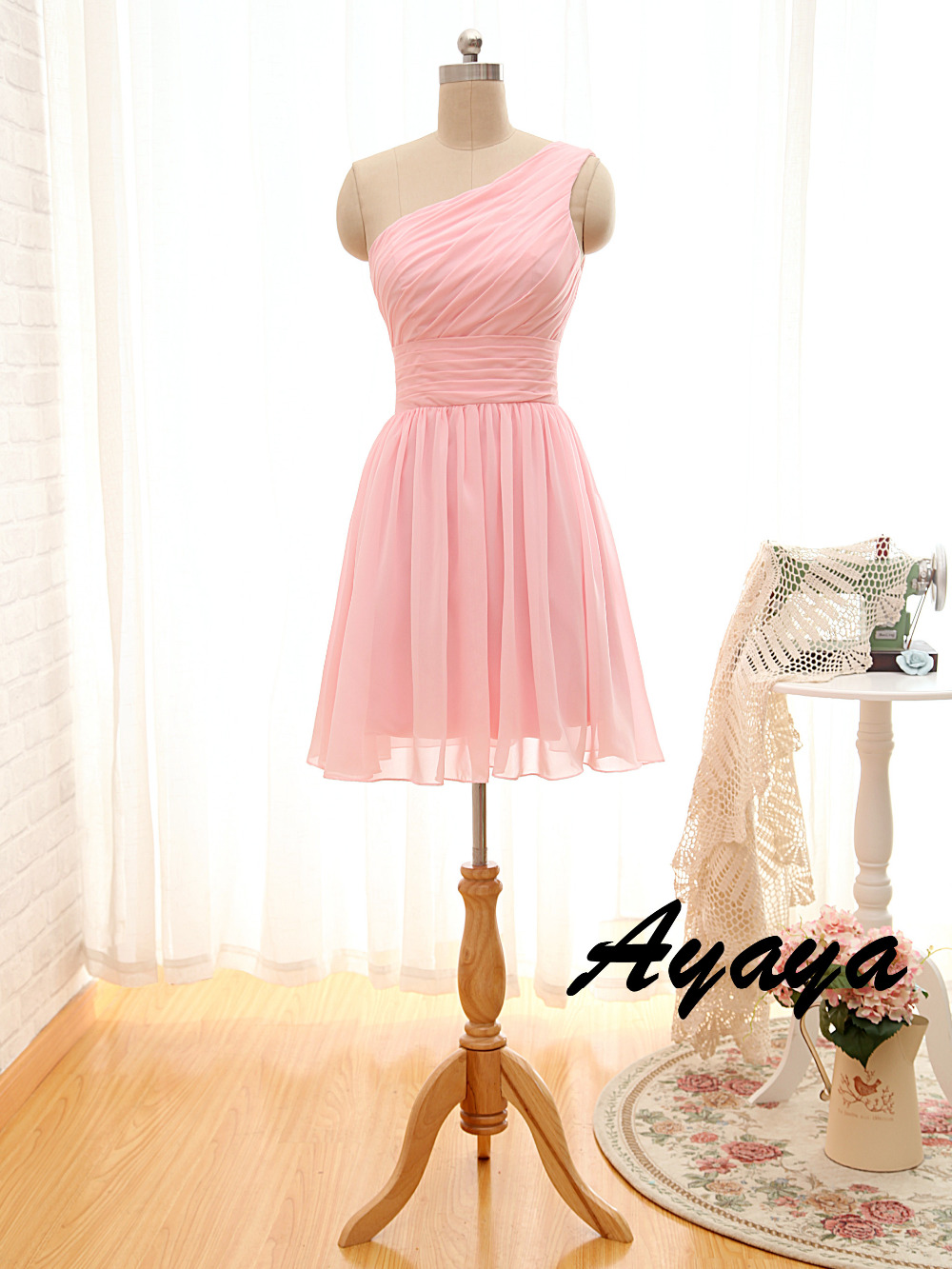 wejanedress Bridesmaid Dresses 2016 One Shoulder Vestidos Pink Mint ...
