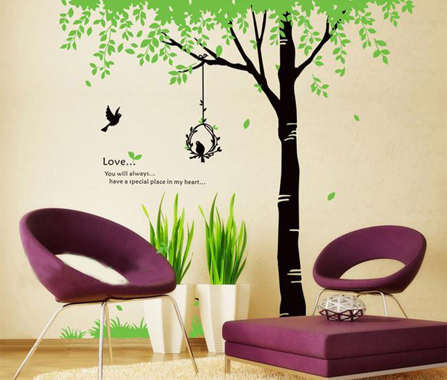 Large Family Tree Bird Home Decoration Removable Wall Decal Bedroom  Bathroom Kitchen Decor Mirror Wall Sticker