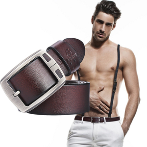 Image 5 - genuine cowhide leather belts for men brand Strap male pin buckle fancy vintage jeans cintos  BAIEKU 2018 NEW