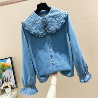 2019 Spring Women's Fashion Pearl Decoration Long sleeved Loose Jeans Shirt Women's Blue Denim Blouse Shirt