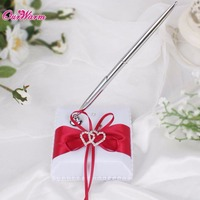 Pen Stand Holder Satin Ribbon Pen Set Wedding Decoration With Double Heart Rhinestones Gel Pen Set