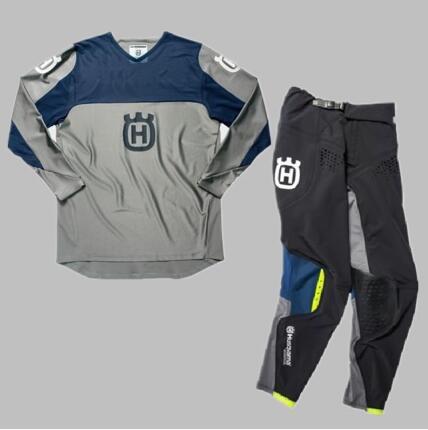 wholesale 2019 Husqvarna Husky Style Men Motocross Suit Motobiker Racing Riding Jersey Pants Motorcycle MX riding