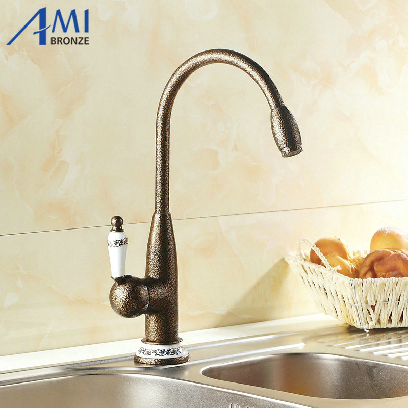 Roman Bronze Porcelain Faucets Kitchen Swivel Bathroom Basin Brass Sink Faucet Crane Mixer Tap 9906T