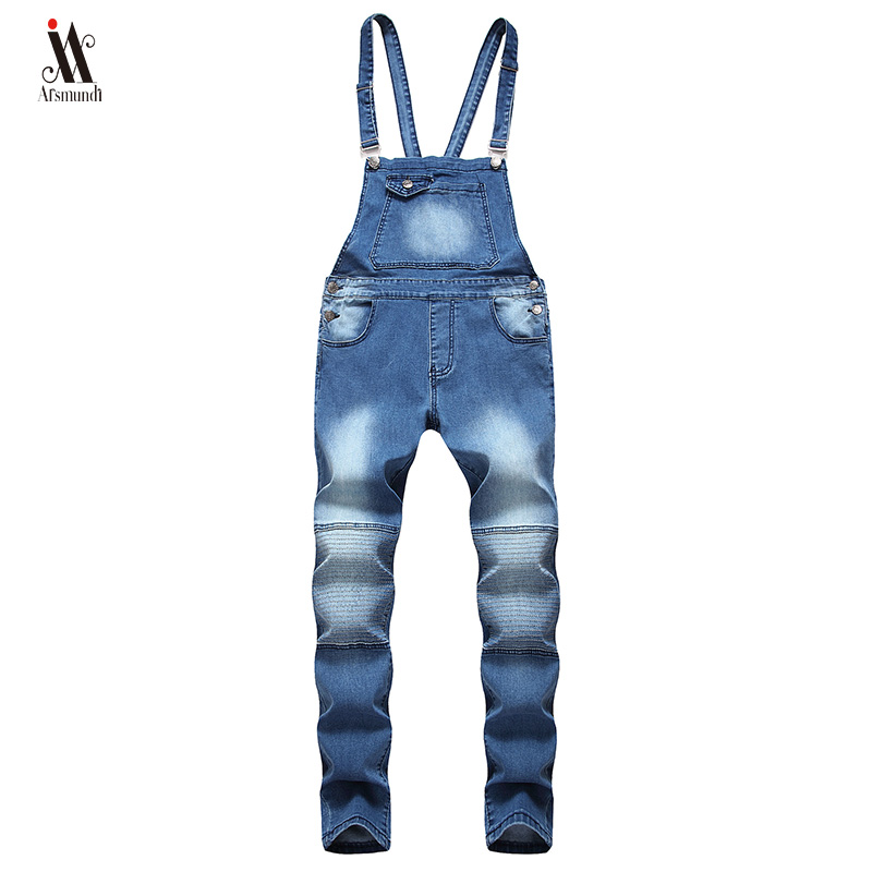 Hip hop Fashion Men's Ripped   Jeans   Jumpsuits Hi Street Distressed Denim Bib Overalls For Man Suspender Pants Size S-XXXL