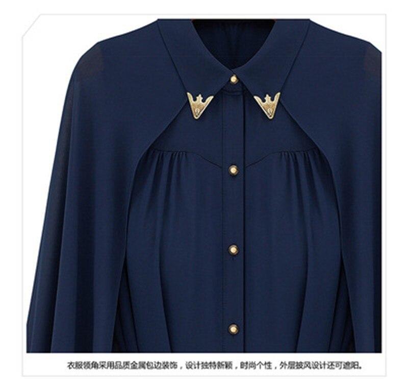 vestidos de fiesta Womens Chiffon Cloak Blouse Shirts Tops Elegant Navy Blue Beige Chiffon Cloak Sunscreen Tops Ladies Fashion  (20)