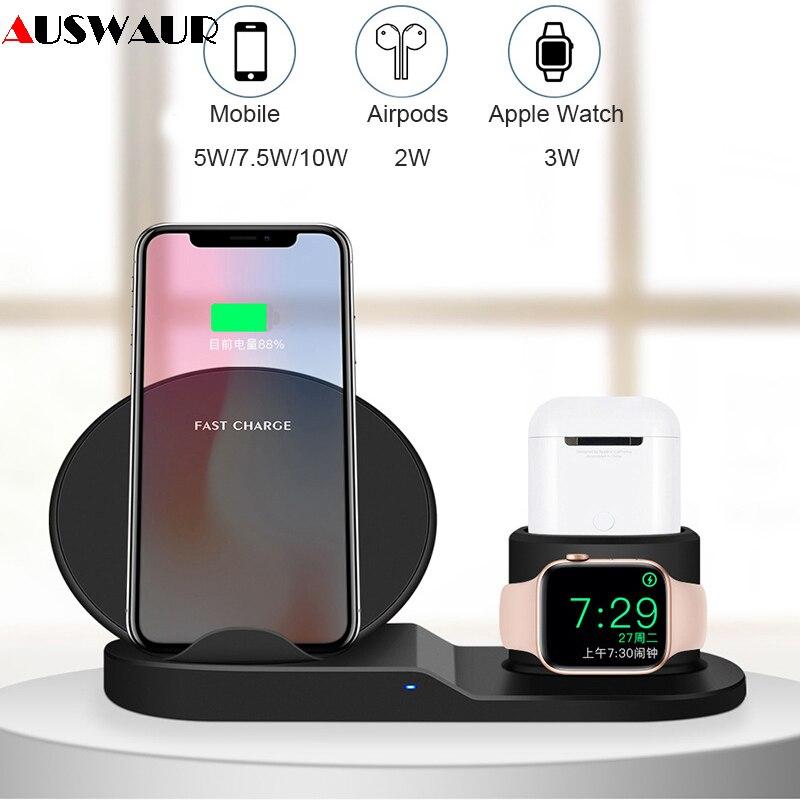573aa23b243 Cargador inalámbrico QI para iPhone Airpods Apple Watch cargador de muelle  estación de carga para iWatch 1, 2, 3, 4 wireless de carga