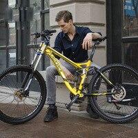 LAUXJACK Mountain Bike Full Suspension Aluminum Frame 24/27 Speed Hydraulic/Mechanic Brake 26 Wheel Russia free shipping