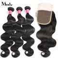 7A série cabelo virgem peruano onda do corpo com fechamento 3 cabelo pacotes com rendas Closures barato Meetu tecer cabelo humano com fecho