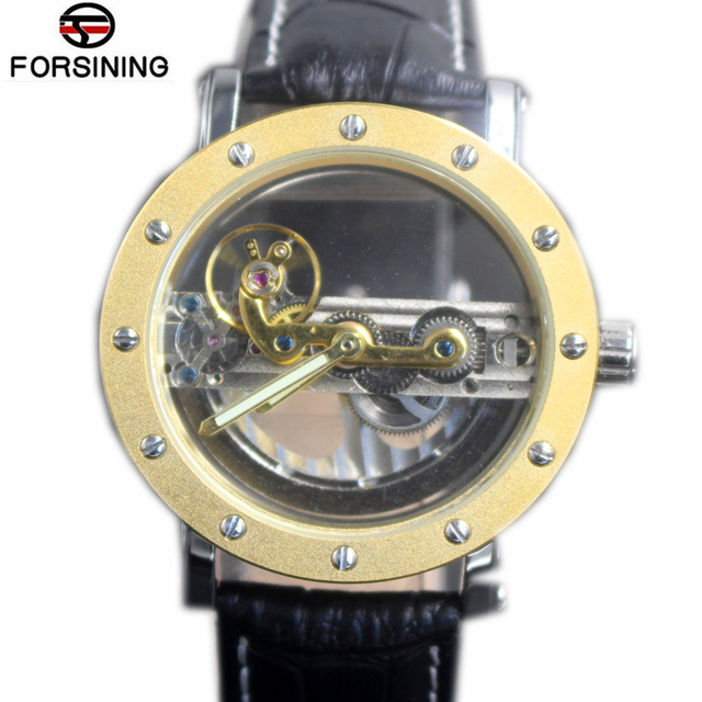 80ed9574d8e Forsining Ocos Automáticos Relógios Mecânicos Homens Marca de Luxo de Ouro Esqueleto  Relógio Pulseira de Couro