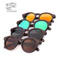 Retro Circle Glasses Sunglasses Women Polarized Vintage Fashion High Quality Bamboo Wooden Sunglasses Men Driving Gafas De Sol