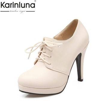38eda14142d94 KarinLuna 2018 toptan Bahar Sonbahar bej siyah kırmızı Pompalar Platformu  kadın Ayakkabı Kadın Yüksek Topuklu büyük Boy 34-43 bayan Ayakkabıları
