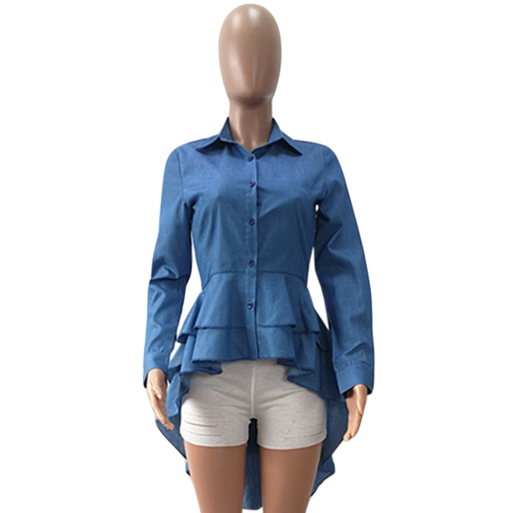 Summer Denim Shirts Long Sleeve Blue Jeans Asymmetrical Ruffle Blouse  Button Down Women Long Shirts Casual Slim Tops Blusa Mujer-in Blouses   Shirts  from ... 3fc771025