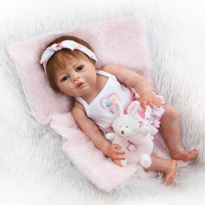 20'' Baby Alive Reborn Bonecas Handmade Lifelike Reborn Baby Doll Girls Full Body Vinyl Silicone With Pacifier Skirt Child Gift 22 reborn dolls toys half soft silicone body reborn baby cotton body with pacifier bear doll newborn baby bonecas child gift