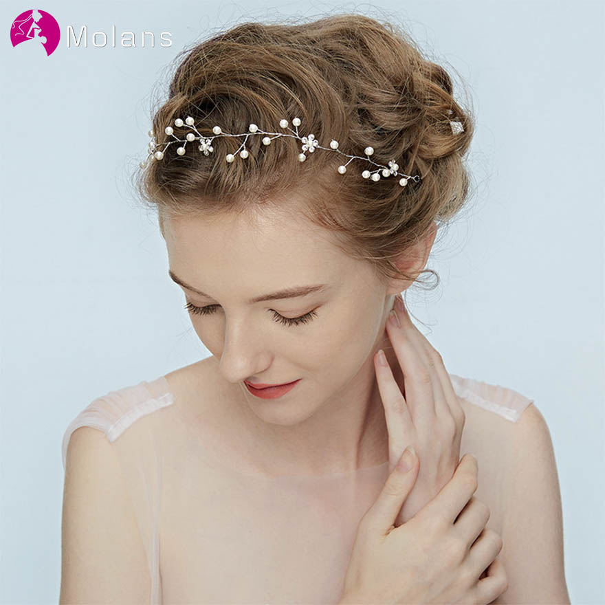 MOLANS European Artificial Pearl Hairbands For Bridal Hair Accessories Simple Fashion Floral Silver Wire Headbands For Wedding