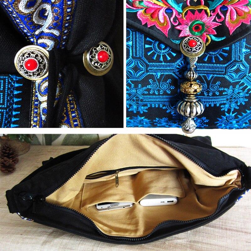 Vruće vezene ženske torbice crno platno Etničke vrećice za - Torbe - Foto 6