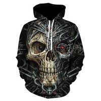 Devin Du 2018 printemps 3D sweat à capuche pour homme sweats à capuche fondu crâne 3D imprimer pulls décontractés haut Hip Hop vêtements
