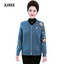 где купить XJXKS Women Sweater Autumn And Winter Women Cardigan Long Sleeve Plus Size Sweater Appliques Knitted Cardigan Fall 2019 по лучшей цене