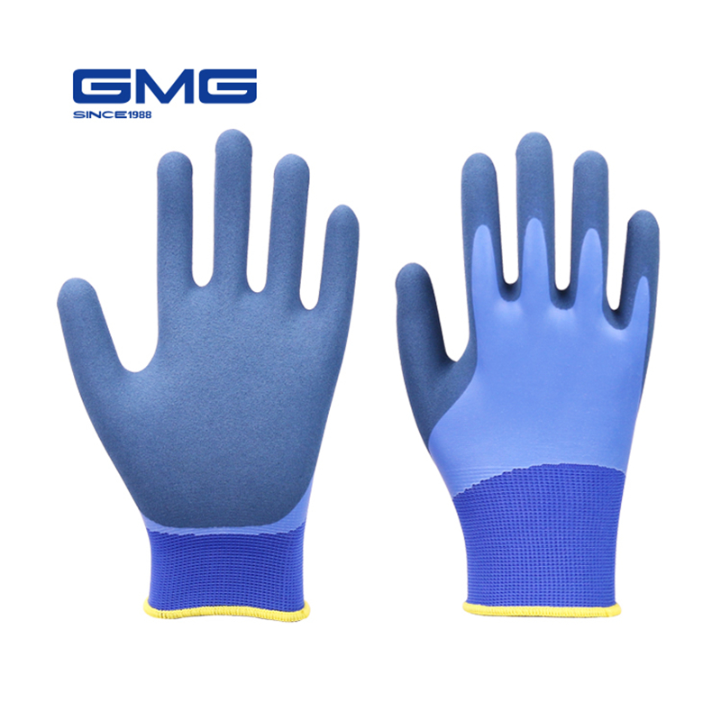 Waterproof Gloves For Work GMG Blue Polyester Grey Latex Sandy Coating Safety Work Gloves Working Gloves Men