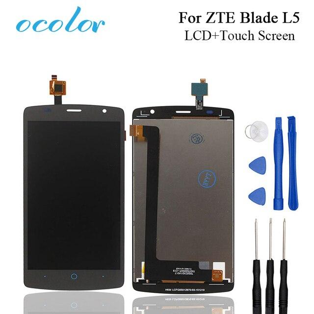 Kolor dla ZTE Blade L5 wyświetlacz LCD i ekran dotykowy, aby dobrze ekran wymiana Digitizer zgromadzenia z narzędziami do ZTE Blade telefon komórkowy