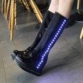 Novas Mulheres Botas de Moda à prova d' água LED Light UP Neve Luminosa 2016 botas Grossas de Inverno Mulheres Quentes de Pelúcia Botas de Neve Flash sapatos