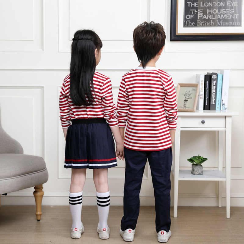 Kids Neutrale Roze Gestreepte Schooluniform Jongens Meisjes Zomer Rok Shirts Kleuterschool Uniformen Kinderen Nursery Pak D-0516