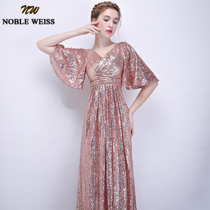 Image 4 - NOBLE WEISS Elegant Pink Sequined Prom Dresses 2019 Sexy V Neck Long Vestido De Festa for Party Gowns African Dress Pageant Wear