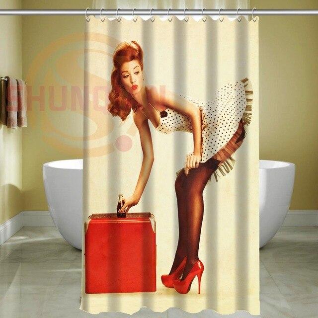 Custom Sexy Pin Up Girl Waterproof Bathroom Fabric Shower CurtainBathroom Decor 48 X 72 Inch