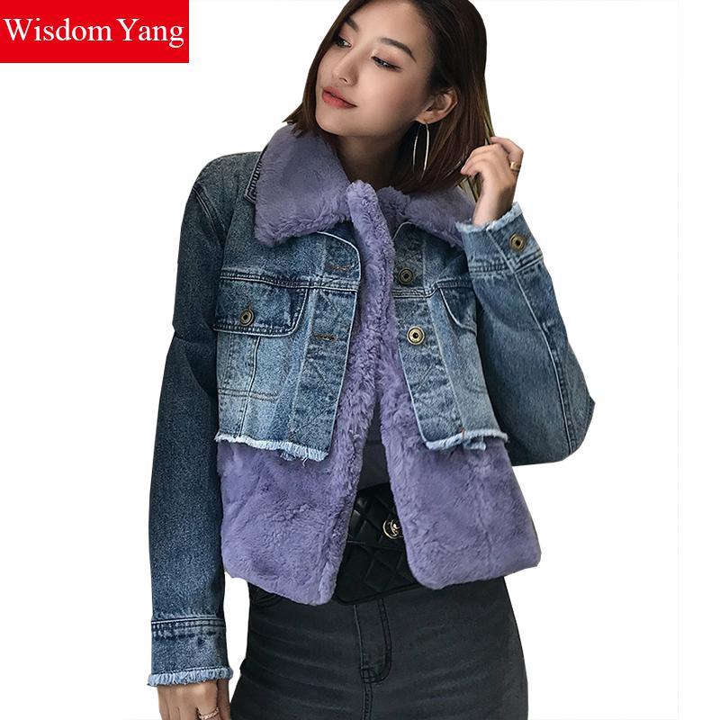 Cálido Cortos Mujer Coat Patchwork Abrigo De Denim Para Chaqueta v05qEwPxU